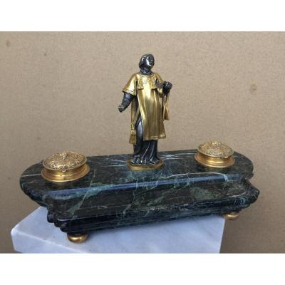 Inkwell, Bronze And Marble, 19th Century