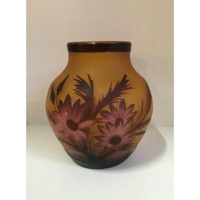 GALLE - Vase à décor floral
