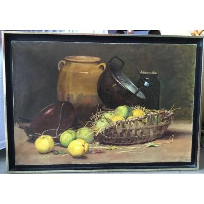 Blanc Claude-françois (1841-1901) - Still Life With Quinces