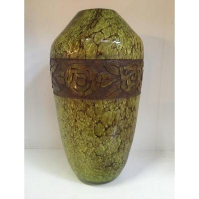 Legras - Rare Marmoreal Glass Vase With Engraved Decoration