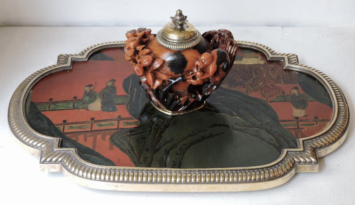 Boin-Taburet Paris Encrier en Soapstone, bronze doré et Laque de Chine circa 1880