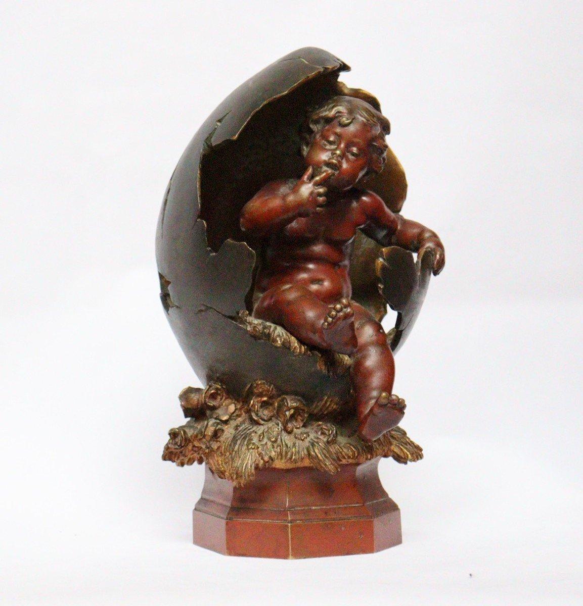 """""""Amour sortant de l'Oeuf"""" Figure en bronze par Auguste Moreau (1834-1917)-photo-2"""