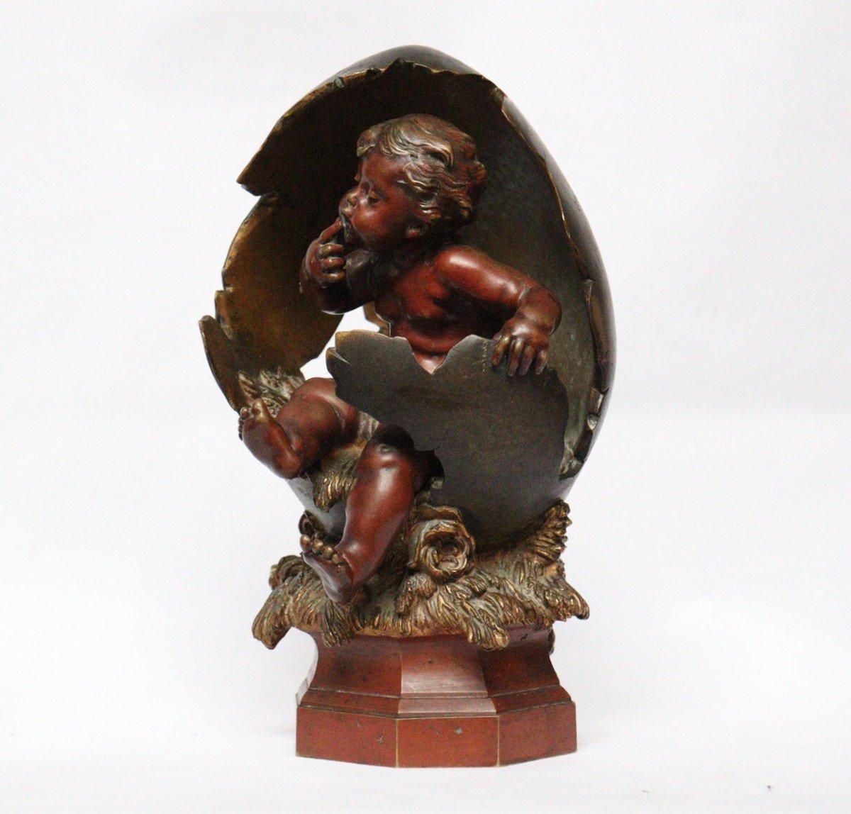 """""""Amour sortant de l'Oeuf"""" Figure en bronze par Auguste Moreau (1834-1917)-photo-4"""