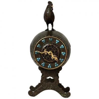 French 19th Century Aesthetic Movement Chinoiserie Timepiece By Susse Frères