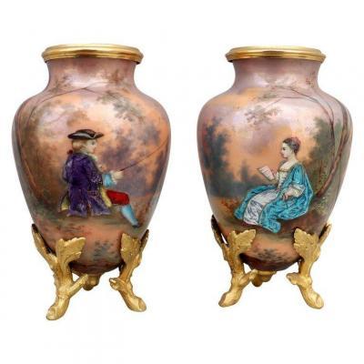 Paire de Vases en Émail ,  Époque Napoléon III