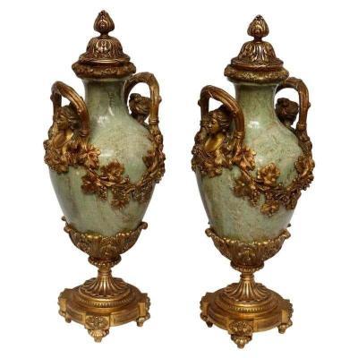 Paire de Cassolettes en Marbre et Bronze Doré Circa 1880