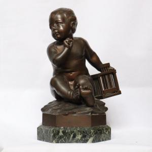 """""""l'Enfant à La Cage """" Sculpture En Bronze d'Après Jean-baptiste Pigalle (1717-1785)"""
