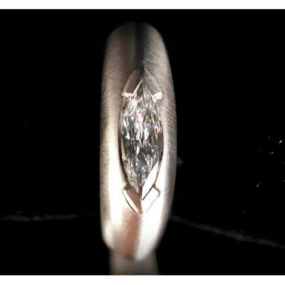 Bague Or 18 Carats Diamant Taille Marquise 0,80 Carat