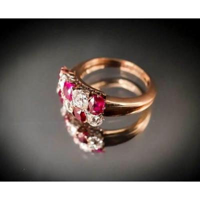 Bague Or Rose 18 Carats Rubis Et Diamants Taille Ancienne