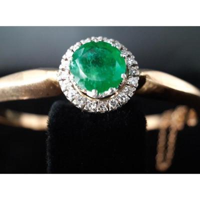 Bracelet Esclave Or 18 Carats émeraude De 3 Carats Et Diamants 0,70 Carat