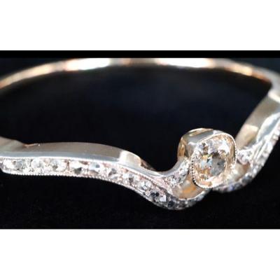 Bracelet Or  18 Carats Diamant Taille Coussin 1,40 Carats Et Roses De Diamants