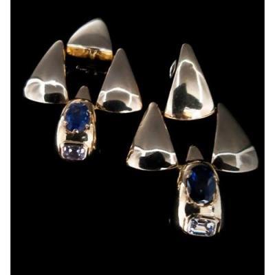 Paire De Boucles d'Oreilles Or 18 Carats Saphirs 2 Carats Et Diamants 1 Carat