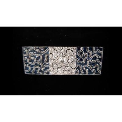 Broche Art Déco Platine Saphirs Et Diamants