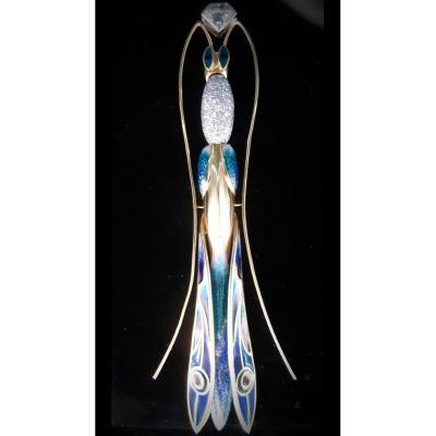 Broche Libellule Or 18 Carats Avec émail Bleu, Vert Et Rouge Et Diamants