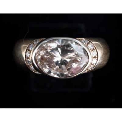 Bague Or 18 Carats Diamant Taille Ovale 3,20 Carats