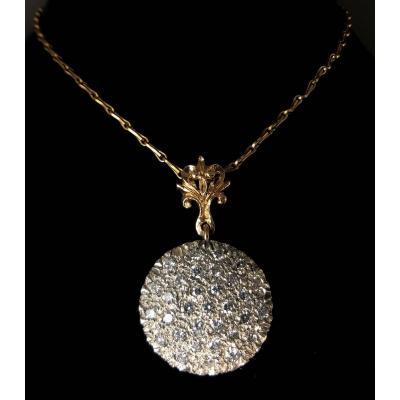Collier Argent Sur Or 18 Carats Diamants 1,32 Carats Chaîne 52 Cm