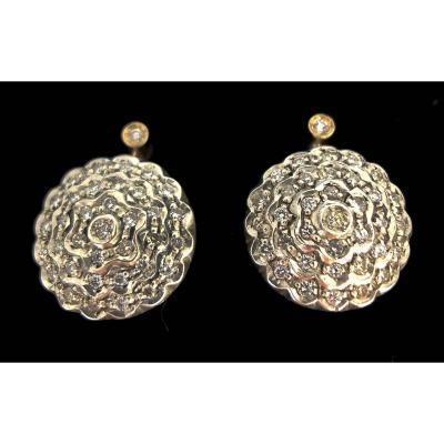 Paire De Boucles d'Oreilles Argent Sur Or 18 Carats Diamants 0,72 Carat