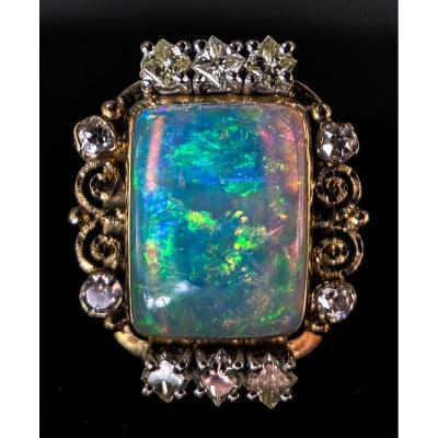 Bague Or 18 Carats Avec Opale Et Diamants