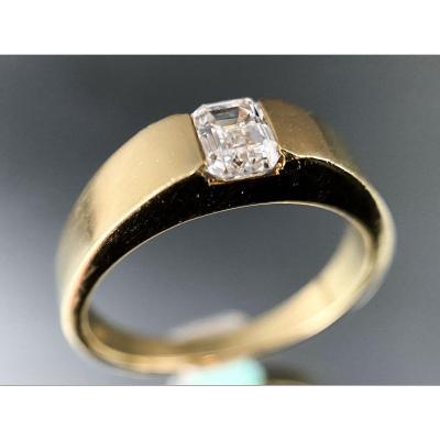 Bague Or 18 Carats Diamant Taille émeraude 0,50 Carat
