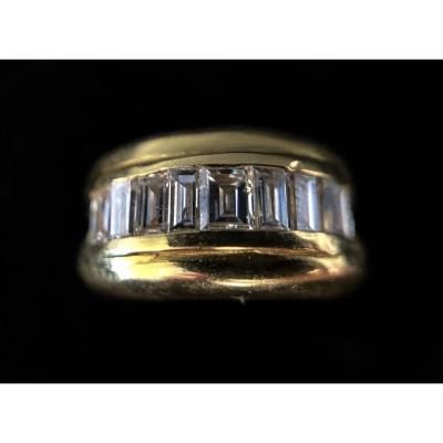 Bague Or 18 Carats Avec Diamants Taillés En Baguettes 1,75 Carats