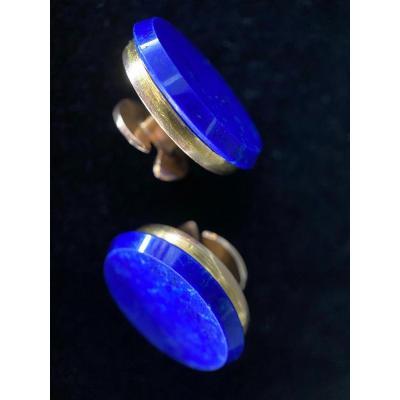 Boutons De Manchettes En Lapis Lazulis Sur Or Jaune 18 Carats. Diamètre: 20mm
