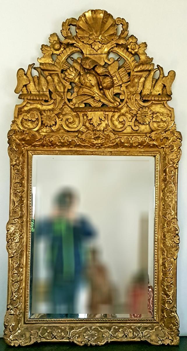 Grand Miroir d'époque 18ème En Bois Doré