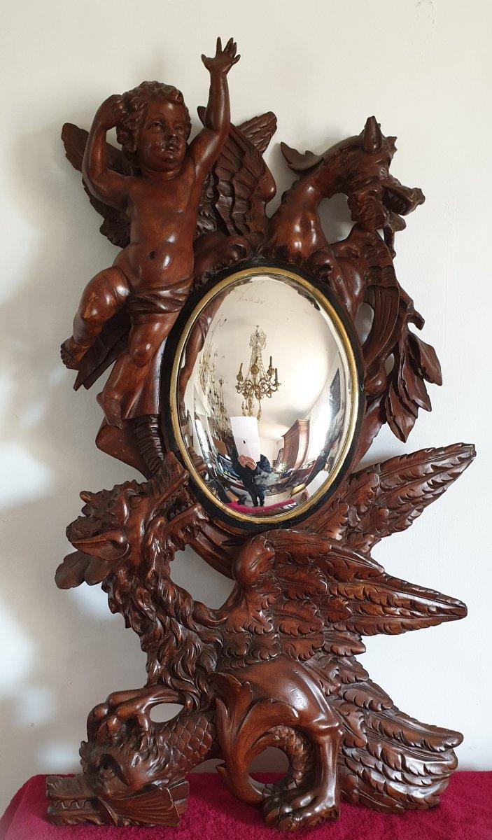 Miroir Sorcière En Bois Sculpté