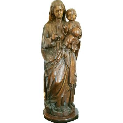Virgin And Child Carved Wood