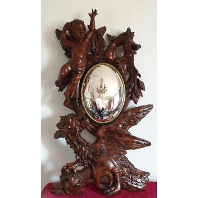 Witch Mirror In Carved Wood