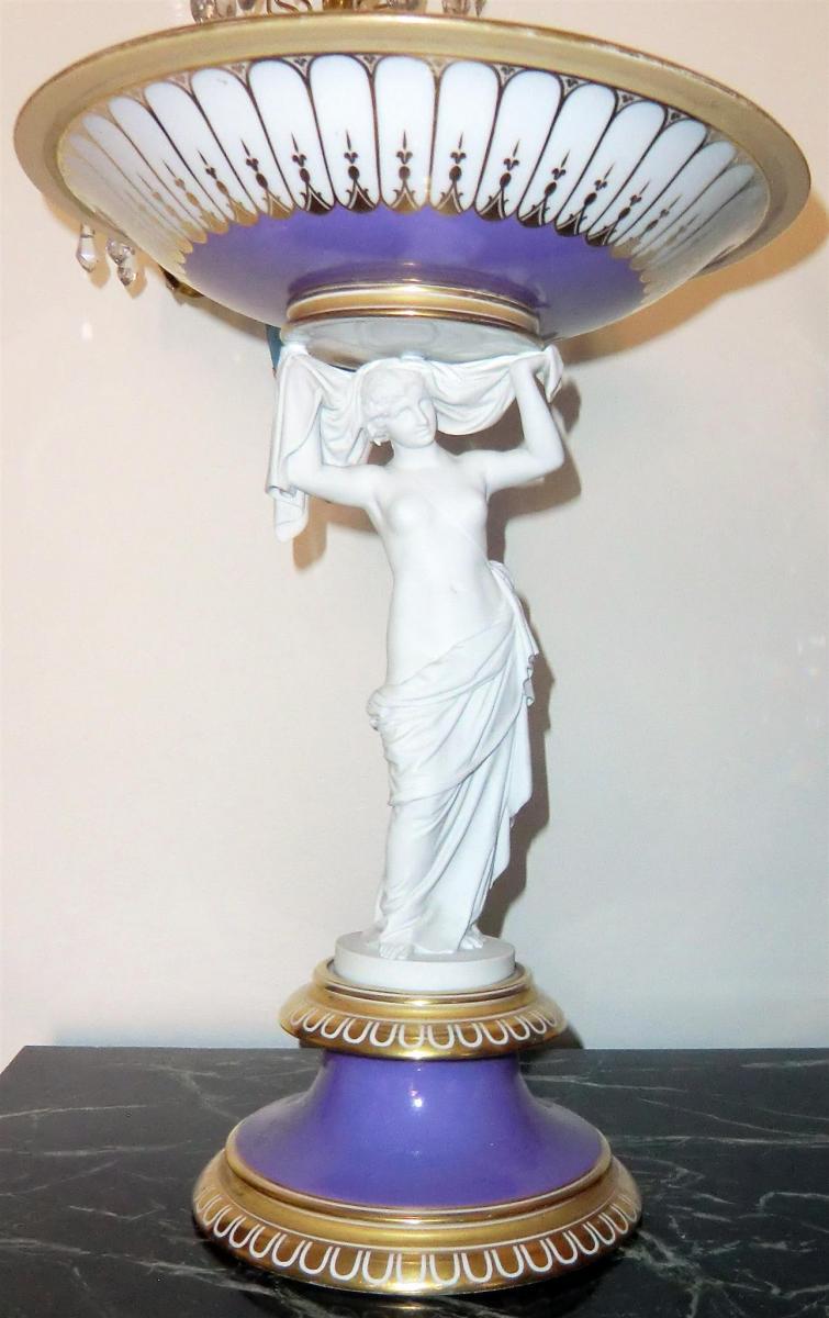 """Vase En Porcelaine. Royal Copenhagen (marque """"trois Vagues""""). H 41cm"""
