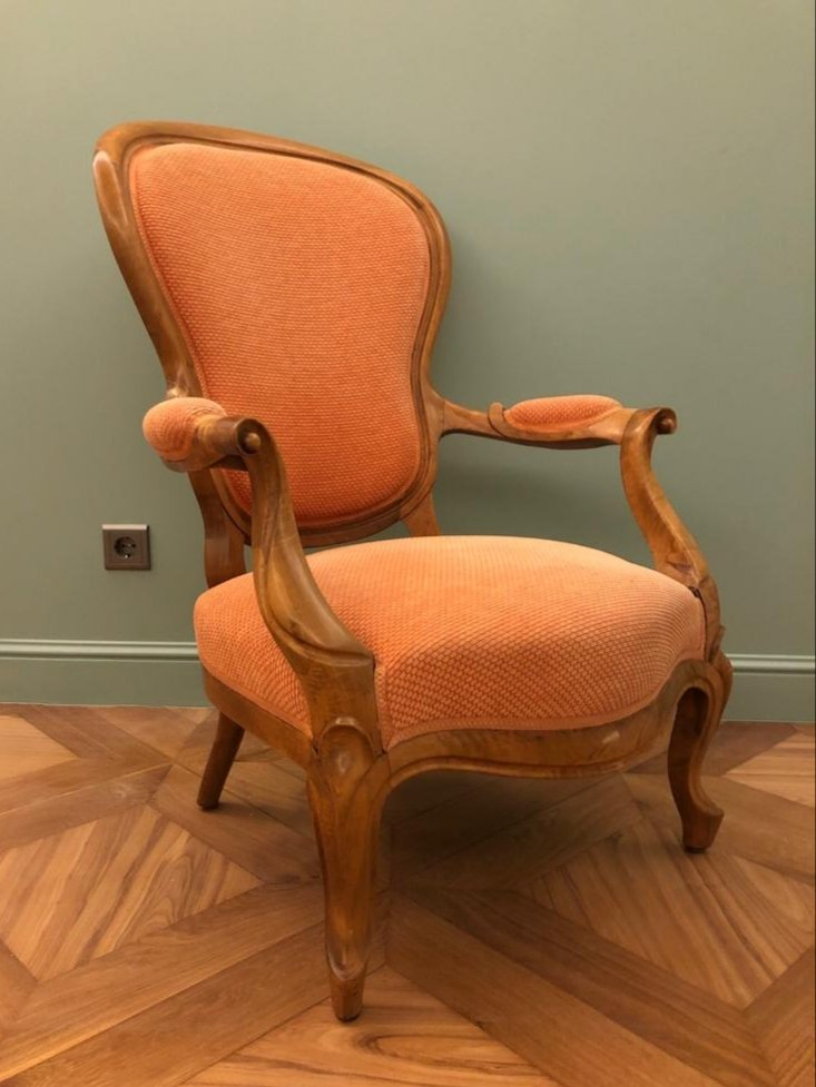 Fauteuil De Style Louis XV. Noyer.  Restauré-photo-2