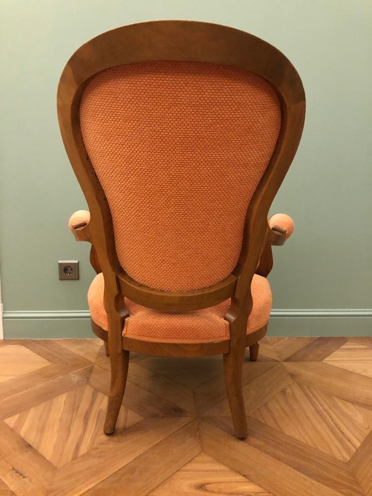 Fauteuil De Style Louis XV. Noyer.  Restauré-photo-3
