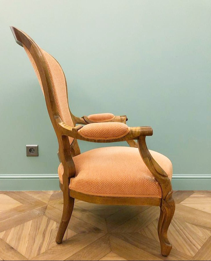 Louis XV Style Armchair. Walnut. Restored