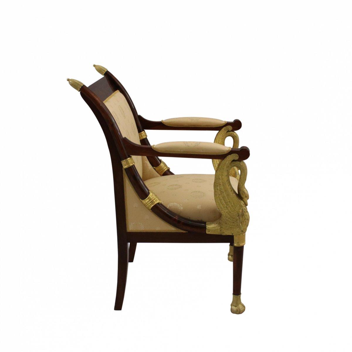 Salon 5 Piècesde Style Empire Français En Acajou Et Bronze Doré. XIXème-photo-2