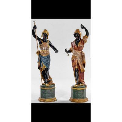Paire De Grandes Sculptures Peintes En Bois, XIXème Siècle