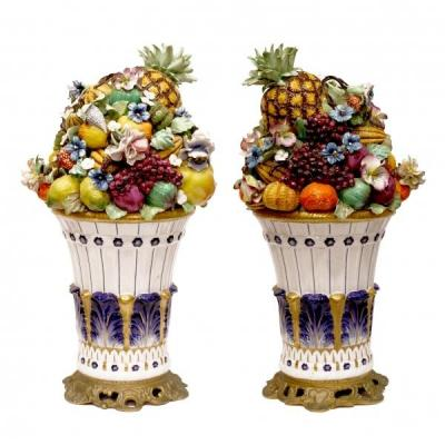 A Pair Of Large Vases Decorated With Fruit. H-50cm