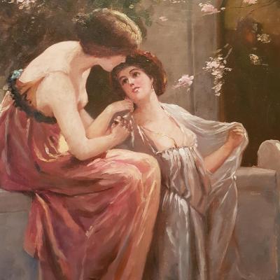 Peinture Représentant Sappho. Art Nouveau Début Du XXème Siècle.