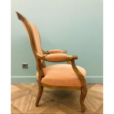 Louis XV Style Armchair. Walnut. Restored