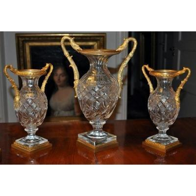Set Of Crystal Vases. Empire Style