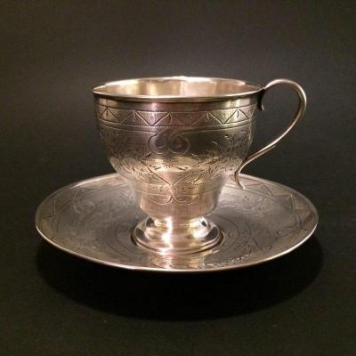 Silver Coffee Pair 84, Moscow. Russia. 1864