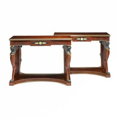 Pair Of Russian Neoclassical Mahogany Consoles.