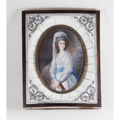 Portrait De Jeune Fille. Miniature 14х9cm