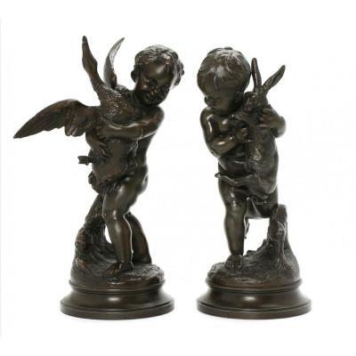 Pair Of Cupids. Bronze