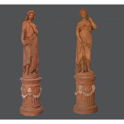 Paire de statues en terre cuite