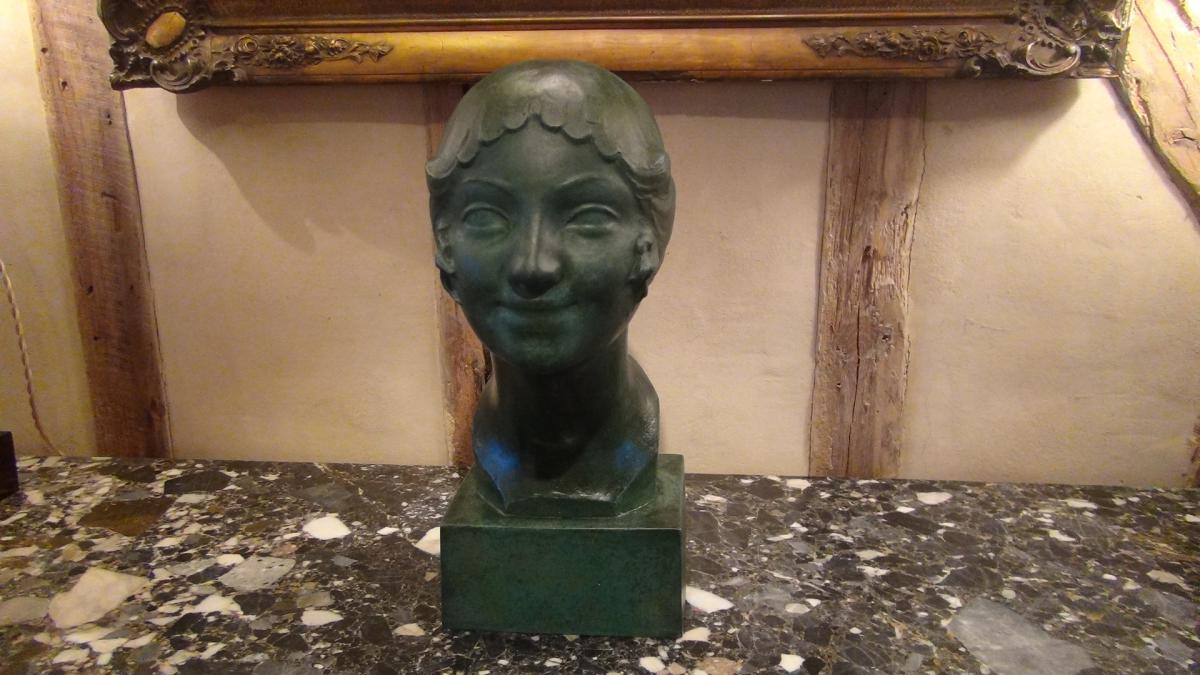 Paul Silvestre, Tête De Femme De Style Art Déco En Bronze