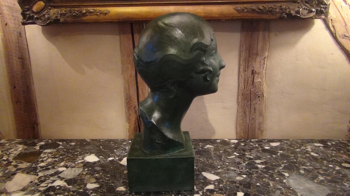 Paul Silvestre, Tête De Femme De Style Art Déco En Bronze-photo-2