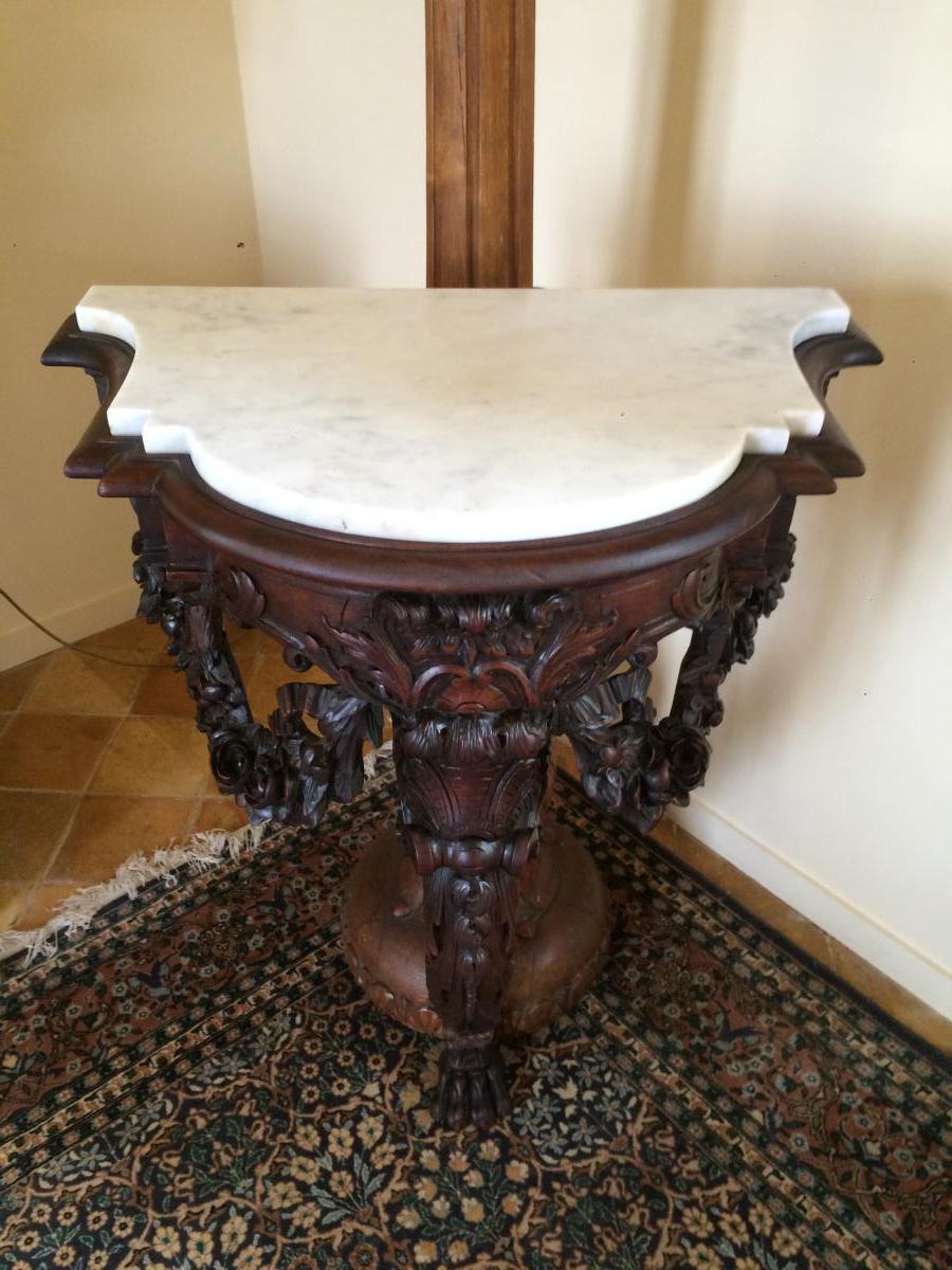 Console d'Applique En Chêne Style Louis XIV, Milieu XIX ème-photo-4