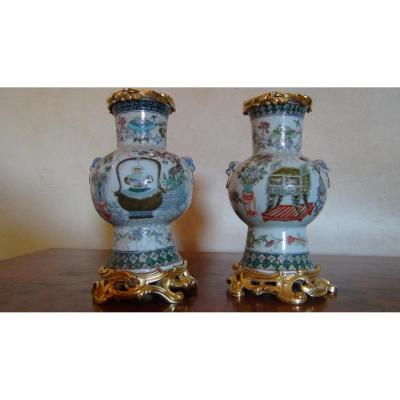 Paire de vases chinois monture Bronze