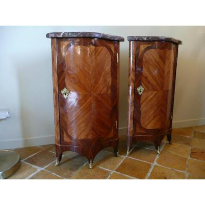 Pair Of Louis XV Corner Cupboards, XVIIIth Century