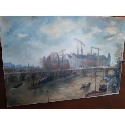 Peinture 20 Ime Siècle  Les Grues Ile De La Cité Paris